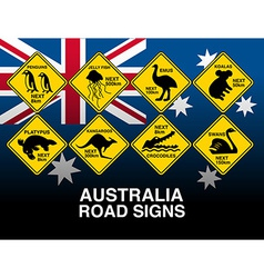 Australian yellow road warning signs with flag vector