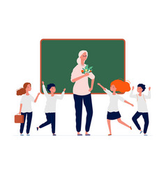 back to school happy teacher and preschool kids vector image