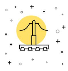 Black line railway icon isolated on white vector