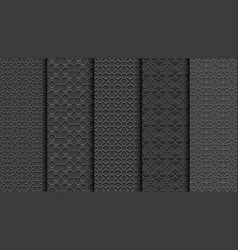 black seamless floral patterns carved styleset vector image