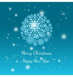 Blue winter snowflake background vector image