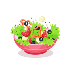 bowl of greek salad healthy eating concept vector image