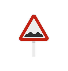 bumpy road sign icon flat style vector image