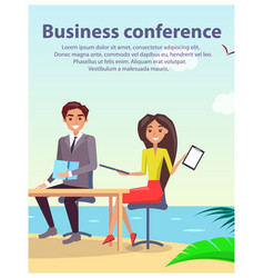 Business conference poster vector