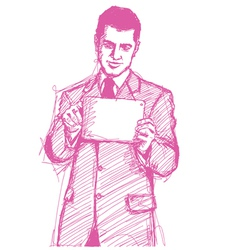 businessman touch pad vector image