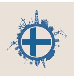 Cargo port relative silhouettes Finland flag vector image