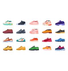 Cartoon footwear modern shoes for men and women vector