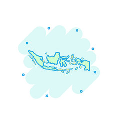 cartoon indonesia map icon in comic style vector image