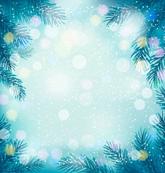 Christmas retro background with tree branches and vector