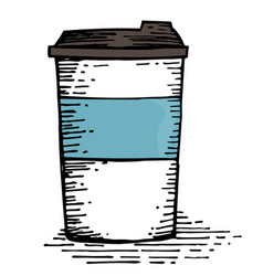 coffee cup hand drawing vector image