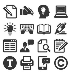 copywriting icons set on white background vector image