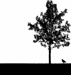 crow under tree vector image