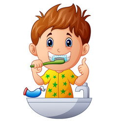 cute boy brushing teeth vector image