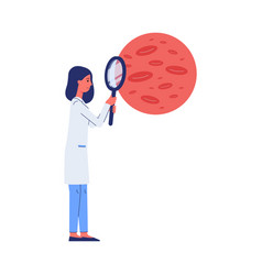 doctor researching blood through magnifier flat vector image