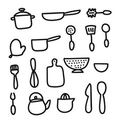 doodle cartoon kitchen elements vector image