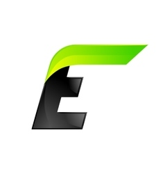 E letter black and green logo design Fast speed vector image