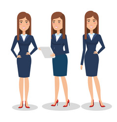 elegant business woman in different pose vector image