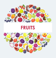 Exotic fruits in round frame composition vector