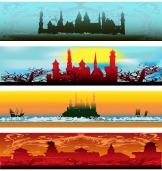 fairytale castle web banners vector image vector image