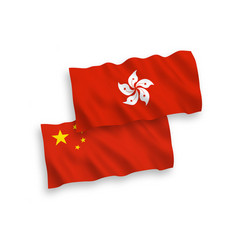Flags hong kong and china on a white background vector