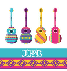 Flat set icon guitar instruments hippie concept vector