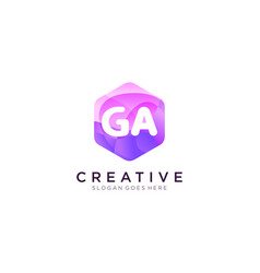 Ga initial logo with colorful hexagon modern vector