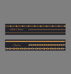 gold chains cards collection vector image