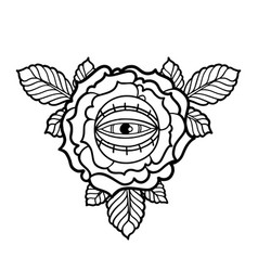 Graphic flower and all-seeing eye vector