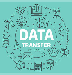 Green line flat circle data transfer vector