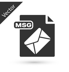 Grey msg file document download msg button icon vector