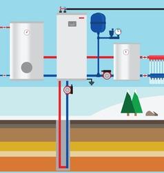 Ground source heat pump in cottage vertical co vector