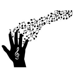 hand notes and treble clef vector image