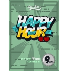 Happy Hour Concept Poster Template For Advertising vector image