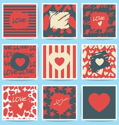 happy valentines day and weeding cards set vector image