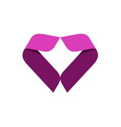 heart pink ribbon logo template vector image