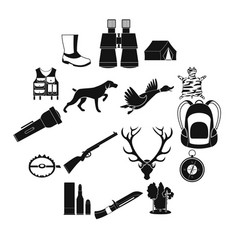Hunting black simple icons vector
