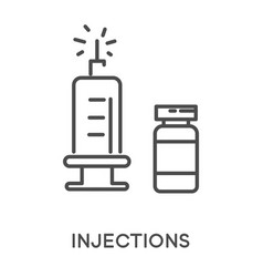 Injections with syringe and medicine glass vial vector