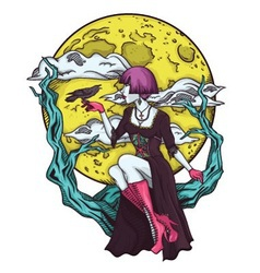 isolated cartoon gothic princes moon vector image