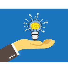 lightbulb with brain inside vector image