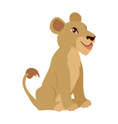 lioness or lion cub cartoon icon in flat design vector image