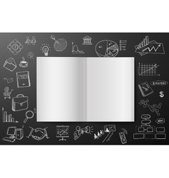 Magazine or book with drawing business strategy vector