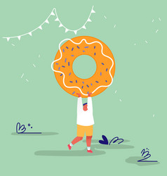 Man character with fastfood huge donut concept vector
