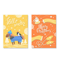 merry christmas winter postcards donkey and cloth vector image