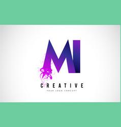 Mi m i purple letter logo design with liquid vector
