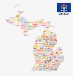 Michigan administrative and political map with fla vector