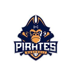 modern professional emblem pirates monkey vector image