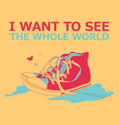Motivational travel poster with sneakers vector