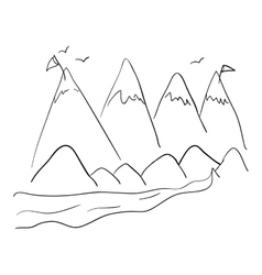Mountains and birds design vector