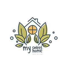 my sweet home logo template design eco friendly vector image