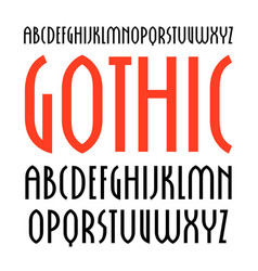 Narrow sanserif font in new gothic style vector